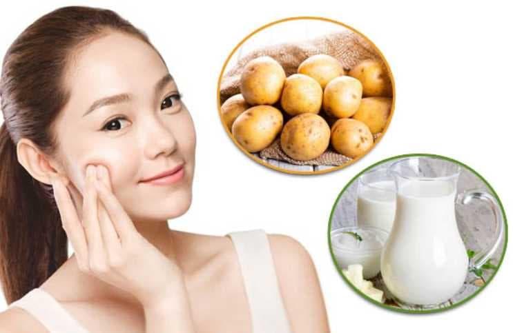 Cách làm trắng da mặt tại nhà nhanh nhất cho nữ từ khoai tây và sữa tươi