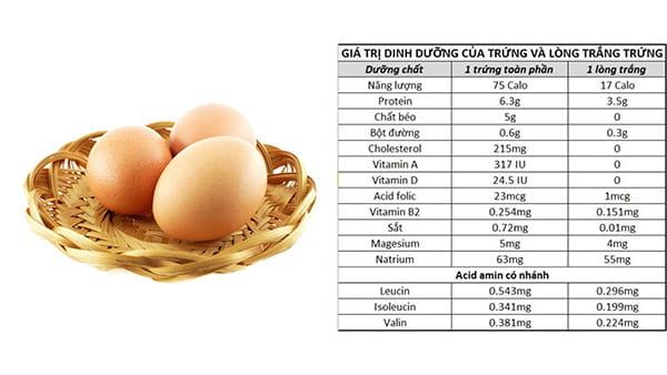 Các chất dinh dưỡng có trong trứng gà
