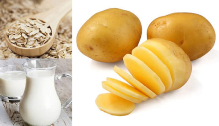 Mặt nạ yến mạch, sữa tươi và khoai tây